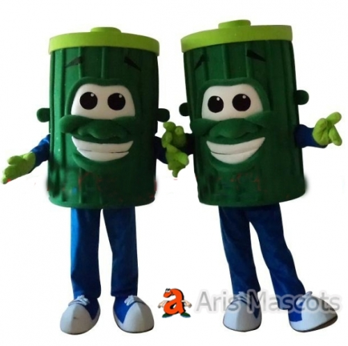 Green Battery Mascot Costume,Giant and Cheerful, Adult Full Mascot Costumes Battery Dress