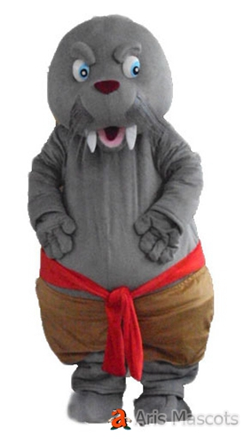 Mascot Grey Walrus with Big Teeth Adult Costume for Party, Cosplay Walrus Fancy Dress up