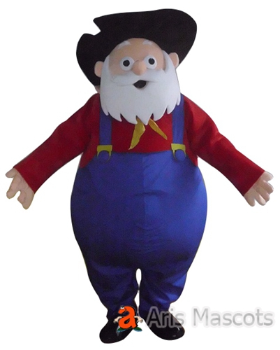 Grandpa Mascot Costume with hat Hat and Blue Overall, Full Body Aged Man Suit