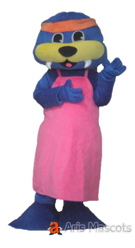 Blue and Yellow Woman Walrus Mascot Costume with Apron