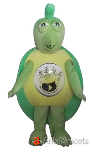 Green Turtle Mascot with Big Shell, Full Body Mascot Turtle Fancy Dress