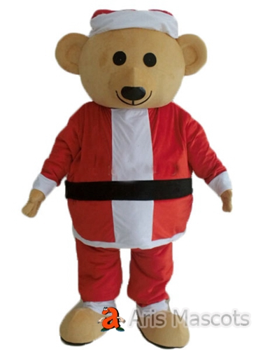 Happy Bear Mascot with Santa Suit, Adult Bear Costume with Santa Claus Dress