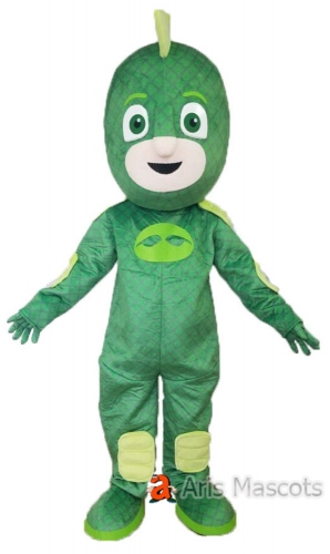 Green Gecko Costume Adult Gekko Fancy Dress Full Body Mascot Suit
