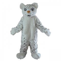 White Leopard Mascot with spots, Adult Full Body Leopard Fancy Dress Plush Suit