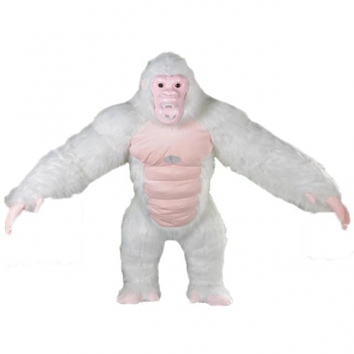 2.5m Giant Inflatable King Kong Costume White and Pink Color Adult Size Full Body Plush Gorilla Fancy Dress Scary Chimpanzee Fancy Dress Halloween