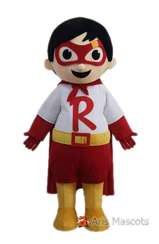 Adult Size Superhero Boy Ryan Costume Full Body Mascot Suit Plush Outfit Carnival Costumes Cartoon Mascots for Events and Festivals