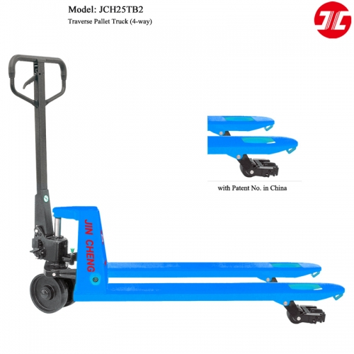 JCH25TB2 Traverse Hand Pallet Truck 4 Way Material Handing Tools Capacity 2500kg Manual Hydraulic Lift Pallet