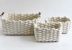 storage basket,gift basket,cotton rope basket,leather handle,S/3