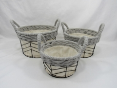 storage basket,gift basket,made of wire with cotton rope