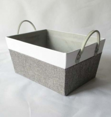 storage basket,gift basket,made of canvas with cardboard,leather handle