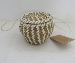 storage basket,fruit basket,made of grass with metal frame