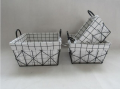 storage basket,gift basket,wire basket with fabric liner