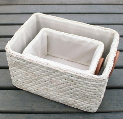 storage basket,gift basket,made of maize with fabric liner,leather handle