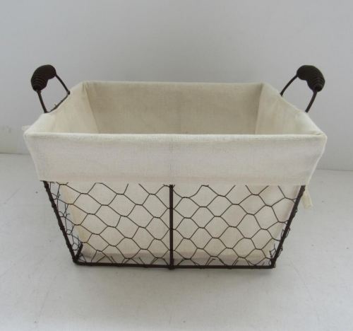 storage basket,wire basket,gift basket with fabric liner