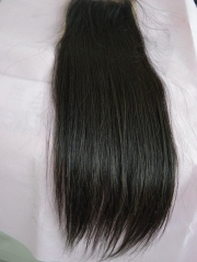 "Swiss Lace Closure 4""X4"" Brazilian Straight Virgin Hair Free Parting"