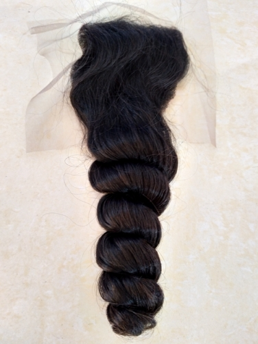 "Lace Top Closure 4""X4""  Loose wave Brazilian Virgin Hair Brown Swiss Lace Free Part"