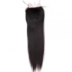 "Lace Closure 4""X4"" Peruvian Virgin Silky Straight Hair Natural Color"