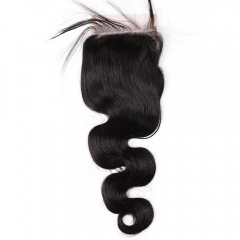 "Lace Closure 4""X4"" Peruvian Virgin Hair Body Wave Natural Color"