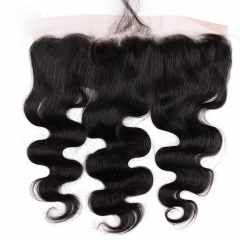 "Lace Frontal 13""X4"" Peruvian Virgin Hair Body Wave  Natural Color Ear To Ear Closure"