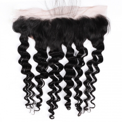 "Frontal 13""X4"" Loose Deep Wave Peruvian Virgin Hair  Natural Color Ear To Ear Closure"
