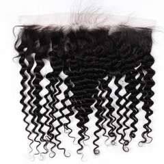 "Deep Wave Frontal 13""X4"" Peruvian Virgin Hair Natural Color Ear To Ear Closure"