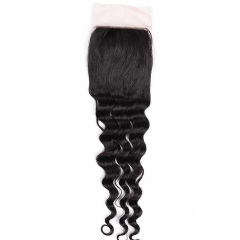 "Silk Base Top Closure 4""X4"" Peruvian Virgin Hair Loose Deep Wave Natural Color"