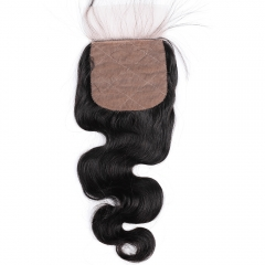 "Silk Base Top Closure 4""X4"" Peruvian Virgin Hair Body Wave Natural Color"