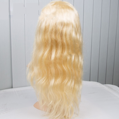 Blonde Lace Front Wigs 150% Density Virgin Brazilian Hair Body Wave Color 613#