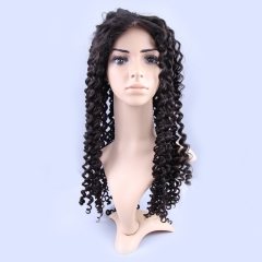 Full Lace Wig 150% Density Brazilian Virgin Hair Deep Wave Natural Black