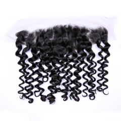 "Italian Curly Hair Lace Frontal 13""X4"" Brazilian Virgin Hair Natural Color"
