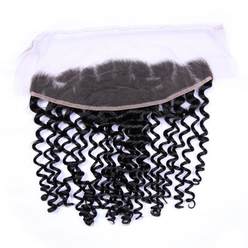 "Deep Wave Lace Frontal 13""X4"" Brazilian Virgin Hair Natural Color"