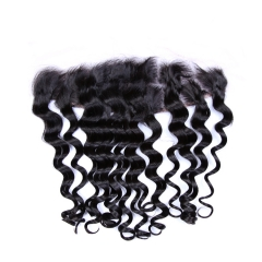 "Lace Frontal 13""X4"" Brazilian Virgin Hair Loose Deep Wave Natural Color"