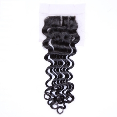 100% Brazilian Virgin Hair Loose Deep Wave Swiss Lace Closure Free Parting