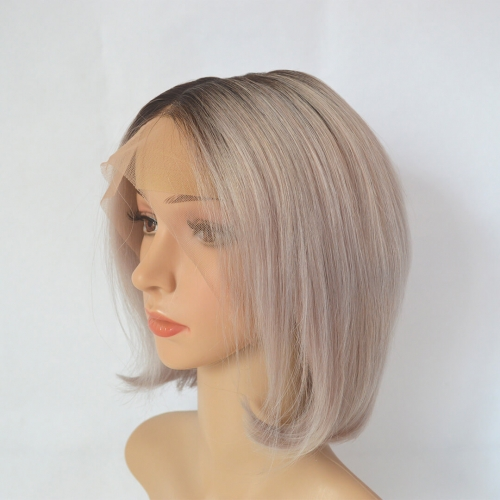 Ombre Silver Hair Bob Wig 100% Human Hair With Dark Roots