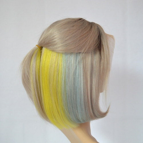 Ombre Bob Wigs Lace Frontal Silver Human Hair With Rainbow Colors
