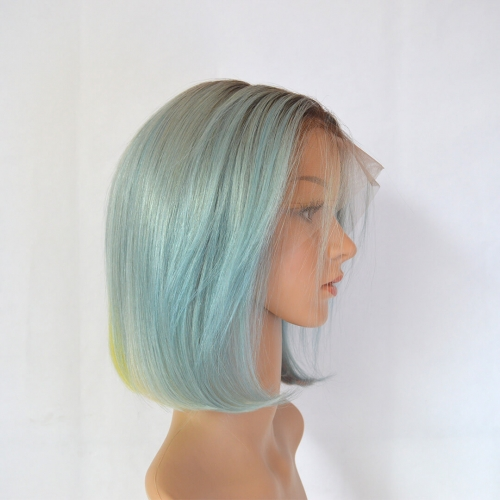 Ombre Bob Wigs Blue Human Hair Wig With Rainbow Colors