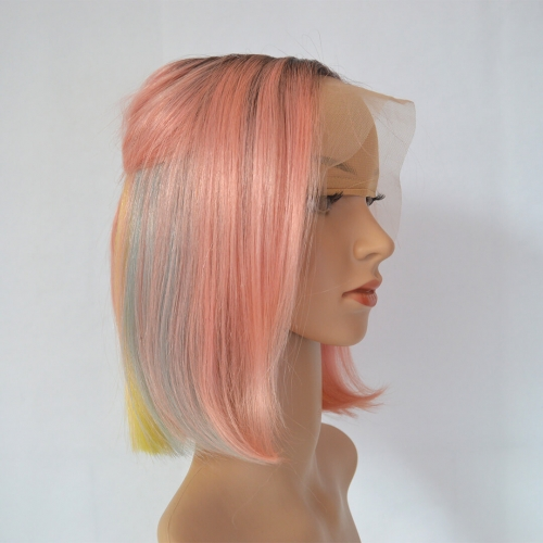Ombre Bob Wigs Lace Frontal Human Hair Rose Pink With Rainbow Colors