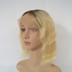 Ombre Blonde Bob Wig Color 1b/613# Wavy Human Hair 13X4 Lace Frontal Wigs