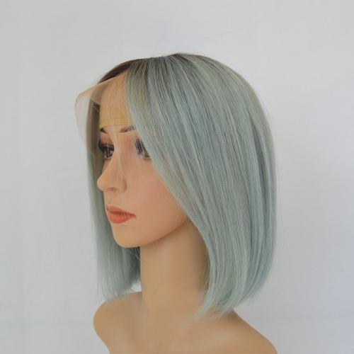 Ombre Short Bob Wigs Color Rose Blue Human Hair 13X4 Lace Frontal Wigs