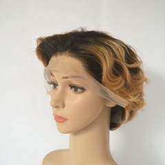 Pixie Cut Short Human Hair Lace Front Wigs Ombre Honey Blonde T1b/27#