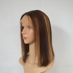 Brown Hair With Blonde Highlight Lace Front Wigs Human Hair Silky Straight