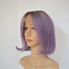 Ombre Bob Wigs Rose Purple With Rainbow Colors Lace Frontal Human Hair wigs