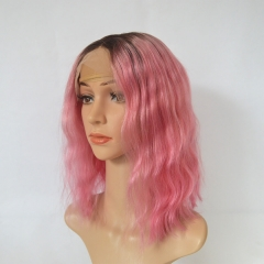 Ombre Hot Pink Short Human Hair Wavy Bob Wigs 13X4 Lace Frontal Wigs