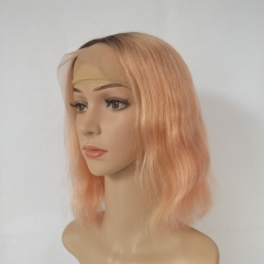 Ombre Rose Gold Wavy Human Hair Bob Wigs 13X4 Lace Frontal Wigs