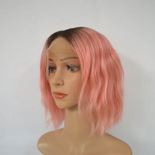 Short Bob Wigs 13X4 Lace Frontal Human Hair Wigs Ombre Rose Pink Wavy