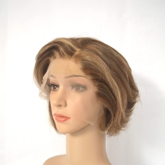 Pixie Cut Short Human Hair Lace Front Wigs With Dark Brown Highlight Hair