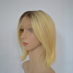 Ombre Blonde Bob Wig Color 1b/613# Human Hair 13X4 Lace Frontal Wigs