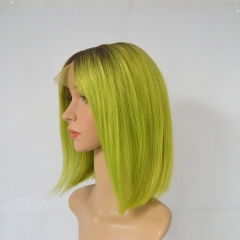 Ombre Lime Green Bob Wigs 100% Human Hair With Dark Roots Silky Straight