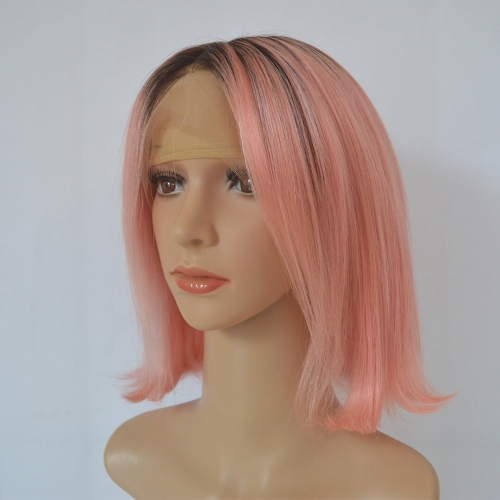 Short Bob Wigs 13X4 Lace Frontal Human Hair Wigs Ombre Rose Pink
