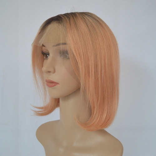 Ombre Rose Gold Short Human Hair Bob Wigs 13X4 Lace Frontal Wigs